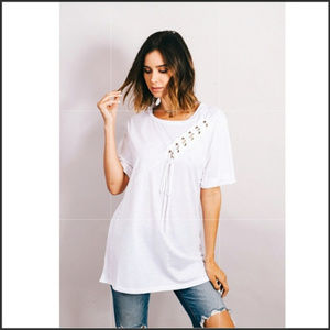 Tops - 🛑🆑🇺🇸🖇Lace stitched Modal top short sleeve